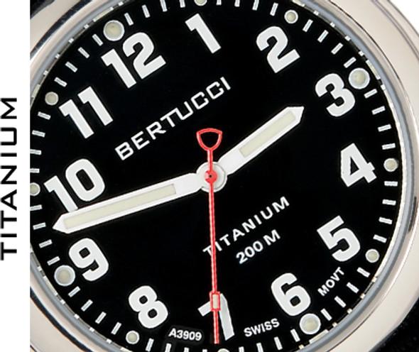 Bertucci A-2T High Polished Titanium Leather Mens Field Watch 12072