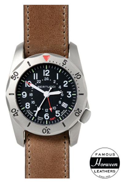 Bertucci A-2TR Vintage GMT Leather Mens Field Watch 12120