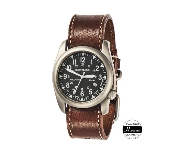 Bertucci A-4T Super Yankee Leather Mens Field Watch 13479