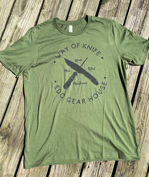 Way of Knife & EDC Gear House T-Shirts OD Green w/ Black logo