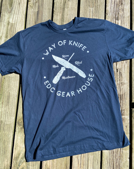 Way of Knife & EDC Gear House T-Shirts Navy Blue w/ White logo