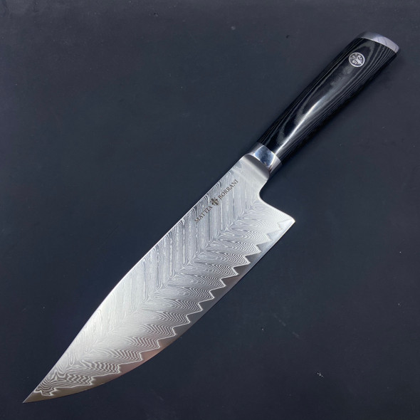 "Mattia Borrani Cutlery 8"" Bowie Chef Knife Damascus"