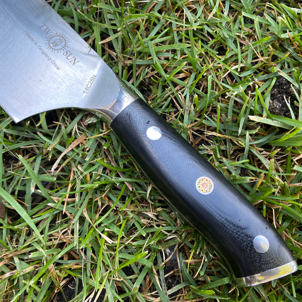 "TwoSun TS999 8"" K-Tip Chef Knife 14C28N Blade Mosaic Pin Full Tang Black Micarta"