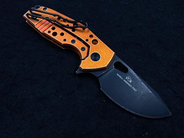 "Fox Knives Vox Suru Frame Lock Flipper Knife Orange (2.3"" Black Stonewash)"