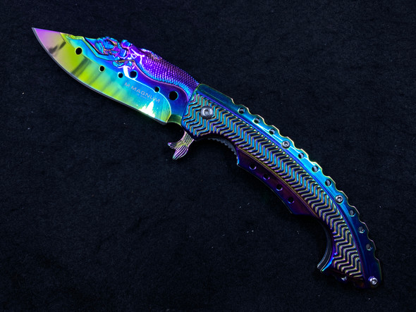 "Boker Magnum Rainbow Mermaid Liner Lock Knife (3.75"" Spectrum)"