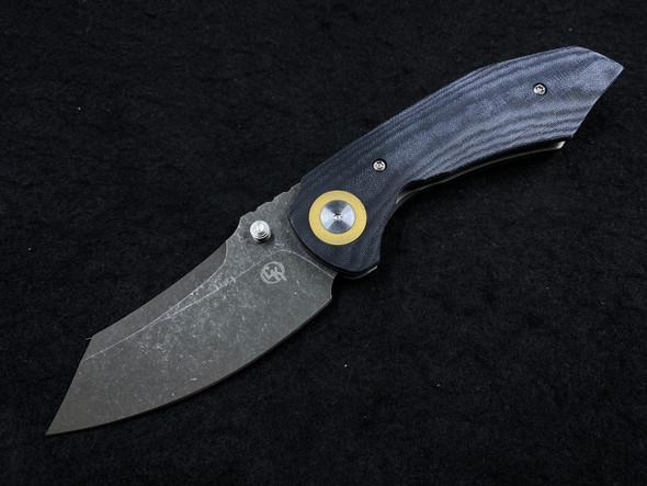 """Alliance Designs Matthew Christensen Bangarang Folding Knife 3.125"""" RWL34 Acid Stonewash Blade, Black Micarta Handles"""