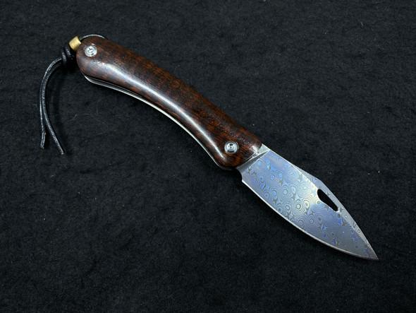 TwoSun TS246 Snakewood Damascus Slip Joint w/ Lanyard