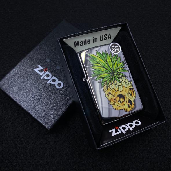 Leaf Skull Pineapple High Polished Zippo Lighter