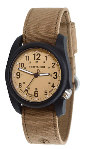Bertucci Dx3 Canvas Patrol Khaki Black Case Watch