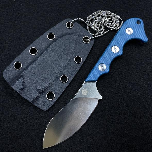"QSP Neckmuk Fixed Blade Neck Knife Blue Linen Micarta (2.9"" Satin)"