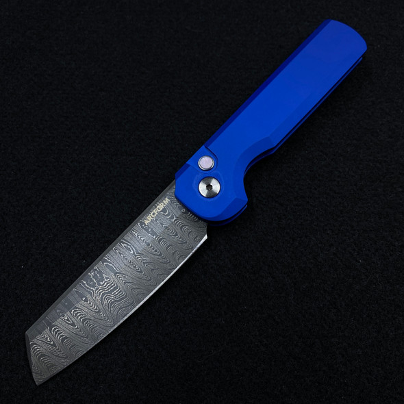 Arcform Damascus Slimfoot Auto Blue (3.125 Virus Damascus) By Pro-Tech