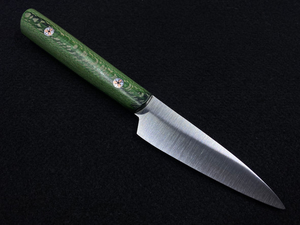 "Szugyi Knives Custom Paring Knife Green Sycamore Burl (3.75"" Blade)"