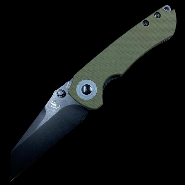 "Kizer CK Knifeworks Critical Mini Liner Lock Knife Green G-10 (3"" Black)"
