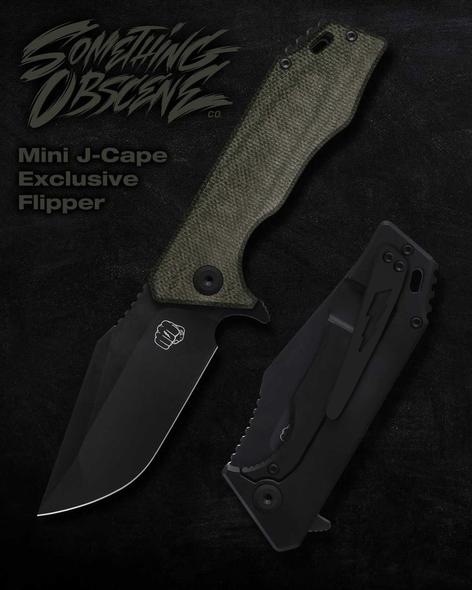 Something Obscene Co Mini J-Cape Blackwashed Ti Green Micarta Exclusive