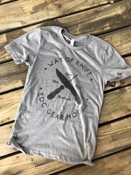 Way of Knife & EDC Gear House T-Shirts Gray w/ Black logo