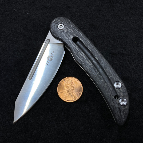 Twosun Micro M390 Carbon Fiber Titanium Flipper Pocket Folder Knife TS158-CF