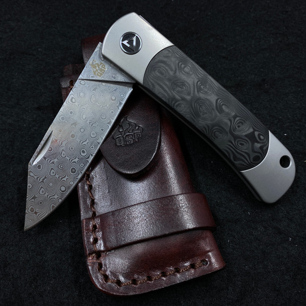 QSP FALCON 2 STAGE SLIP JOINT KNIFE TI CF HANDLE  DAMASCUS BLADE
