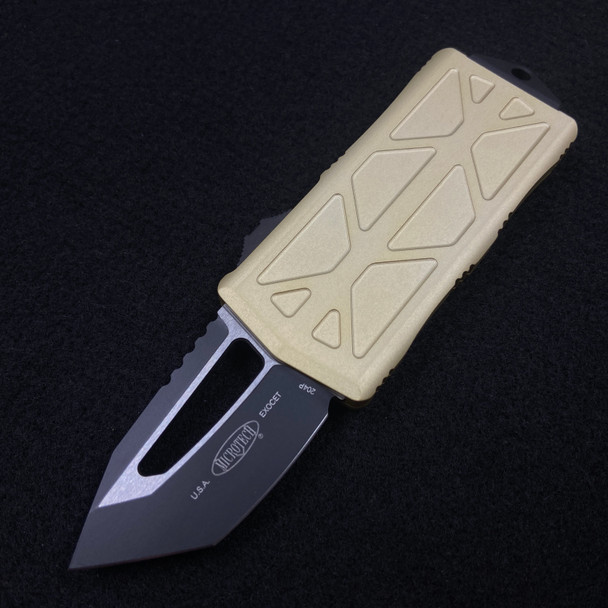 Microtech Exocet Black Blade T/E Champagne Gold 158-1 CG
