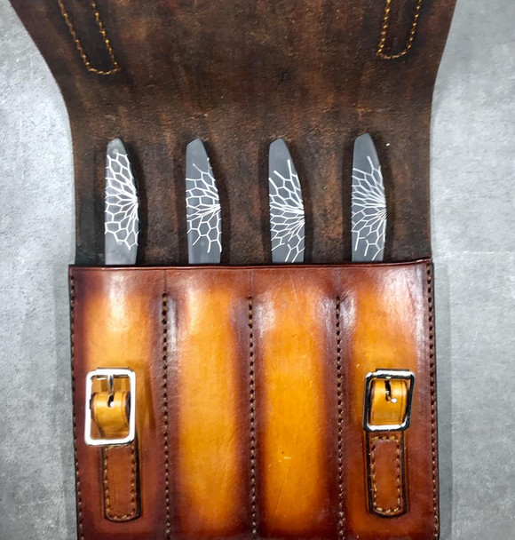 Wild Edge Knives 4-Piece Honeycomb Set w/ Leather Case and Box