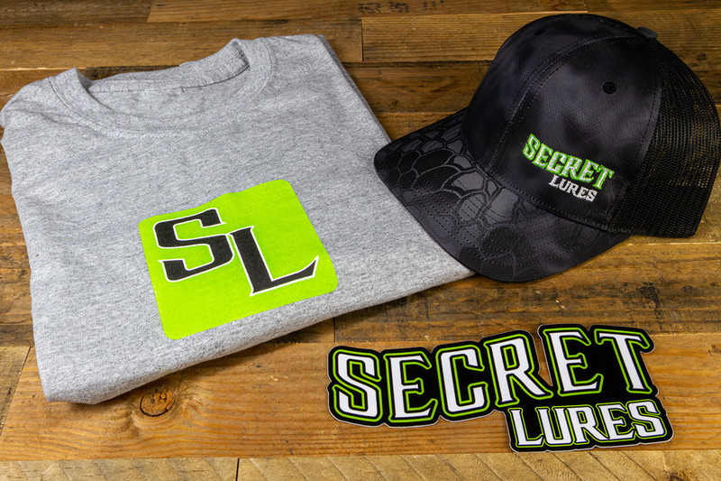 Secret Lures Merch Bundle Apparel Hat Shirt Decal