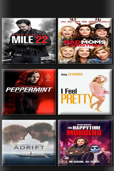 Mile 22 + A Bad Moms Christmas + Peppermint + I Feel Pretty + Adrift + Happy Time Murders 6 Movie Bundle [iTunes HD]