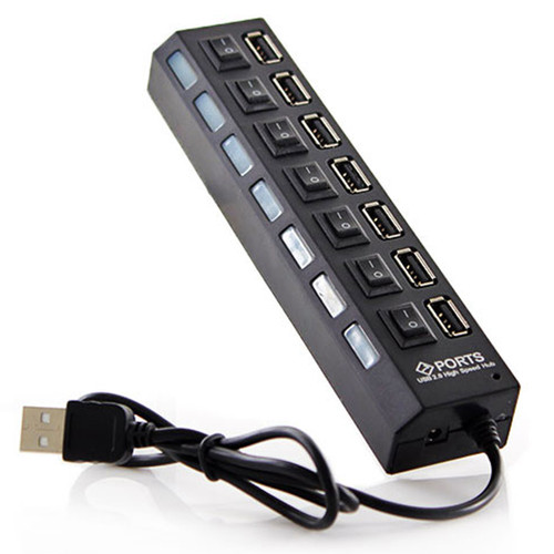 LUPO 7 Ports USB 2.0 HUB, Plug and Play (Black)