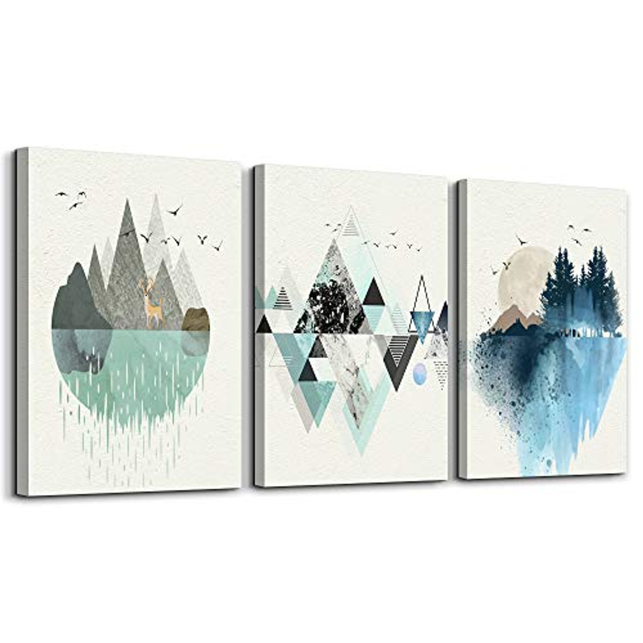 Abstract Mountain in Daytime Canvas Prints Wall Art Paintings Abstract  Geometry Wall Artworks Pictures for Living Room Bedroom Decoration, 12x16  ...