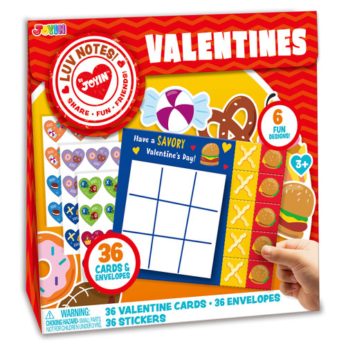 JOYIN 36 Pack Valentines Day Gifts Cards for Kids Classic Tic Tac Toe Cards, Valentine's Greeting Cards, Valentines Classroom Exchanges Party Favor