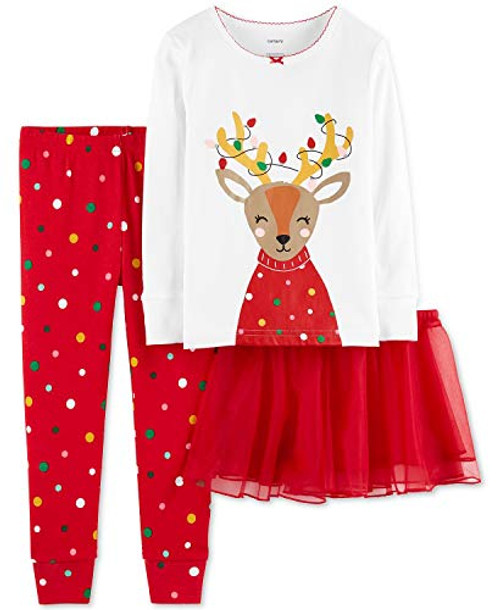 Carter's Baby Girls' Christmas 3-Piece Cotton Pjs with Tutu Set (18 Months, Red Reindeer)