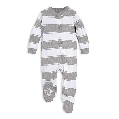 b3cd99cbec88 Burt's Bees Baby Baby Sleep & Play, Organic One-Piece Romper-Jumpsuit PJ,  Zip Front Footed Pajama, Heather Grey Stripes Newborn