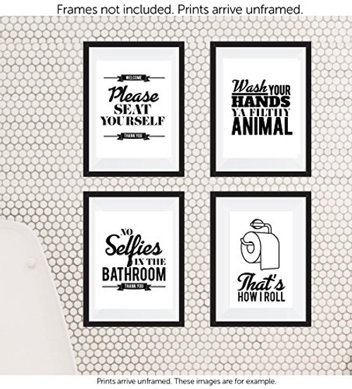 Typography Bathroom Unframed Wall Art Pictures Set Of 4 Funny Bathroom Quotes Rules Best Modern Toilet Decor Words Letters Premium Card