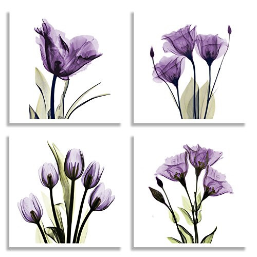 4 Panel Elegant Tulip Purple Flower Canvas Print - Pic 1