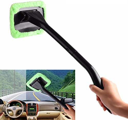 GPCT Windshield Auto Glass Cleaner W/ Long Handle [Microfiber] Wiper for Car, Truck, SUV, Vehicle. Removes Dirt, Dust, & Fingerprints. Comes W/ FREE Water Sprayer & Extra Microfiber Bonnet! (Green)