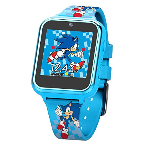 Sonic The Hedgehog Touch Screen Smartwatch Built In Selfie Camera Non Toxic Easy To Buckle Strap Blue Smartwatch Model Snc4055az