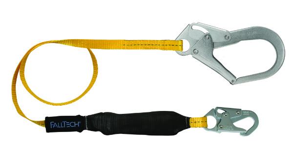 FallTech 8256LT3 6' Shock Absorbing Lanyard w/ 1 Snap Hook and 1 Rebar Hook
