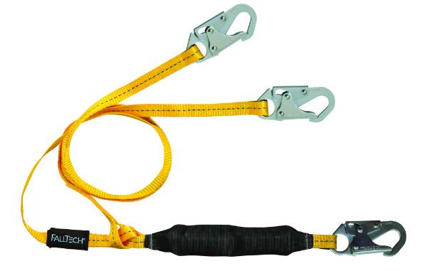 FallTech 8256LTY 6' Dual Leg Lanyard w/ 3 Snap Hooks, 100% Tie Off