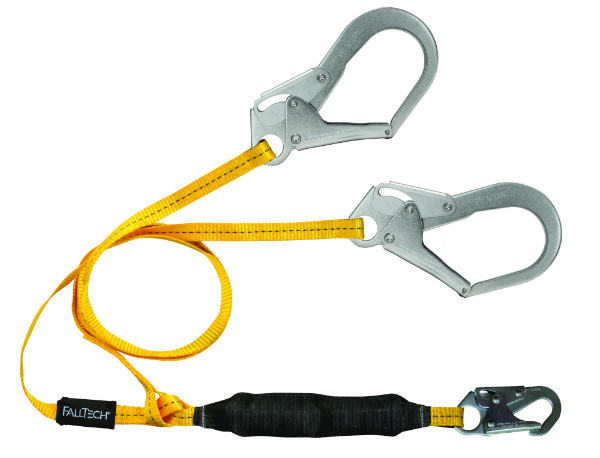 FallTech 8256LTY3 6' Lanyard w/ 1 Snap Hook and 2 Rebar Hooks