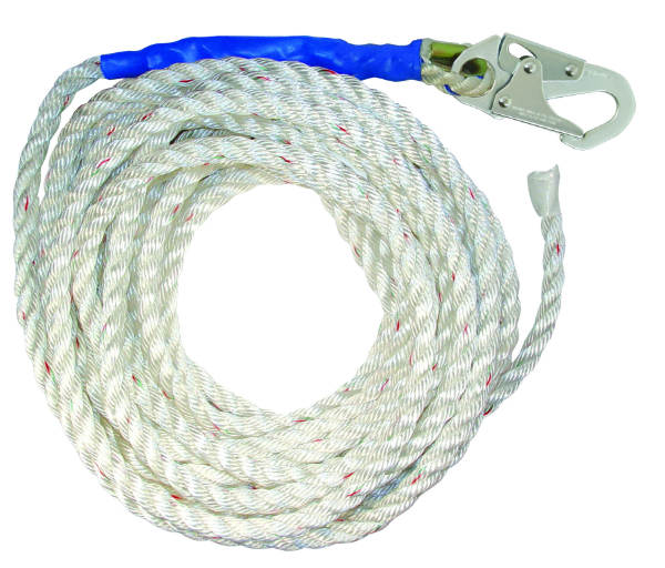 "FallTech 8125T 5/8"" Premium Polyester Rope w/ 1 Snap Hook and Taped End, Available in 25', 30', 50', and 100' Lengths"