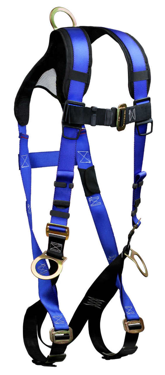 FallTech 7017B Contractor+ Harness, Non-Belted, 3 D-Rings, 1 Back and 2 Hip.  Available in 2 Sizes.