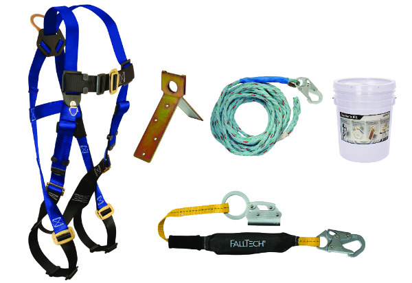 FallTech 8592A Roofer's Kit w/ Harness, Shock Absorbing Lanyard, Anchor, Manual Grab, and Vertical Lifeline