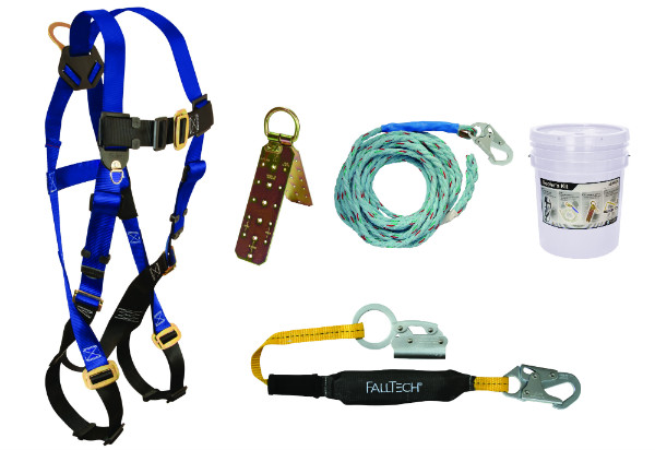 FallTech 8593A Roofer's Kit, Harness, Lifeline, Shock Absorbing Lanyard w/ Manual Grab, Anchor