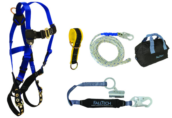 FallTech 9103JK Roofer's Kit Includes Harness, Lifeline, Shock Absorbing Lanyard w/ Trailing Grab, Sling Anchor