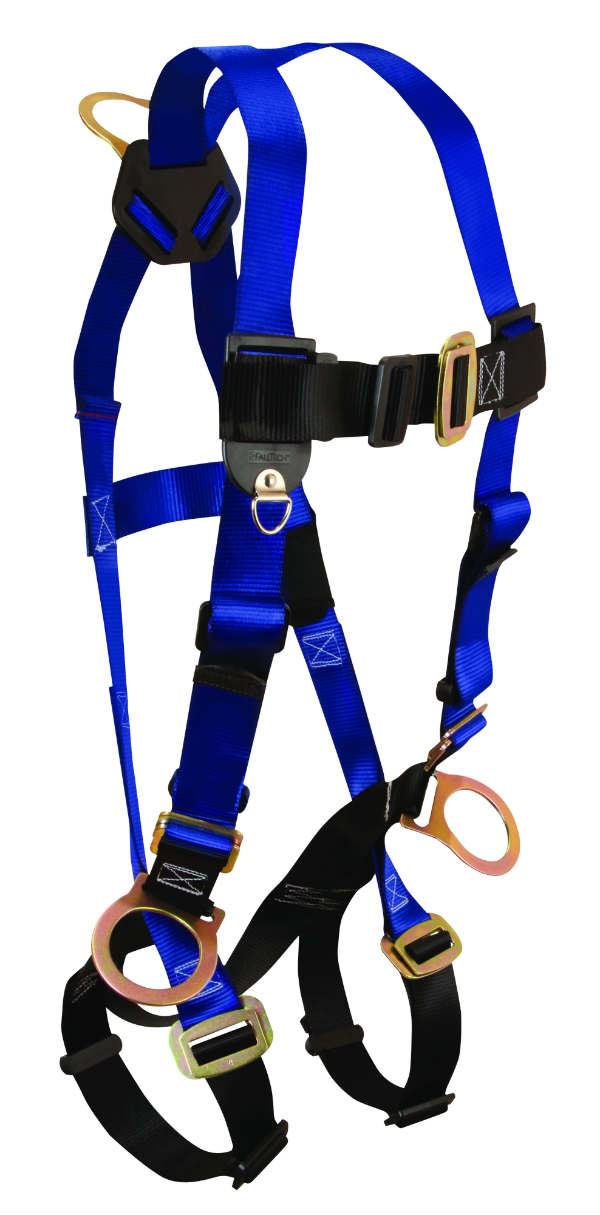 FallTech 7017 Contractor Harness, Non-Belted, 3 D-rings - 1 Back and 2 Sides, Available in 4 Sizes