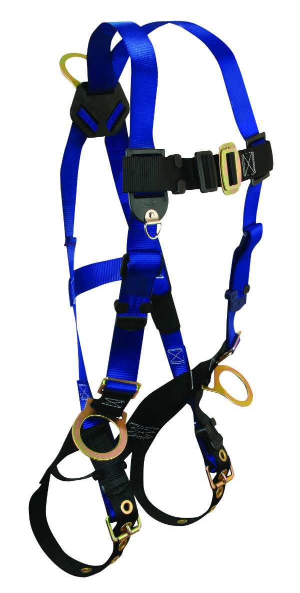 FallTech 7018 Contractor Harness, Non-Belted, 1 Back and 2 Side D-Rings, Tongue Buckle Legs and Mating Buckle Chest.  Available in 4 sizes.