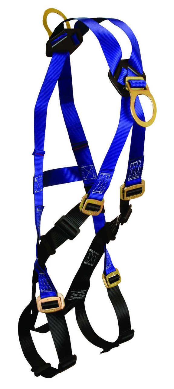 FallTech 7019A Contractor Climbing Harness - 1 Front and 1 Back D-Ring, Mating Buckle Legs and Chest, 4 Points of Adjustment, Available in 2 Sizes