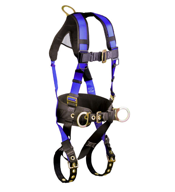 FallTech 7073 Contractor Belted Construction Harness.  Available in 4 Sizes, 3 D-Rings, Waist and Shoulder Padding.