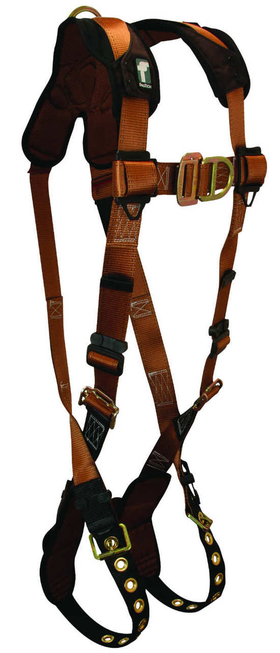 FallTech 7080-FD Climbing Harness, Non-Belted, 2 D-Rings Front and Back, Tongue buckle Legs and Mating Buckle Chest, Available in 6 Sizes.