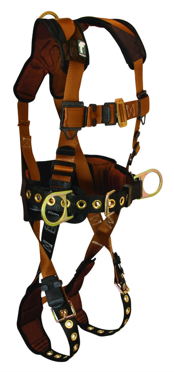 FallTech 7081 ComforTech Harness, Belted Construction, 3 D-Rings, Lumber Supporting Waist Pad.  Available in 4 Sizes.