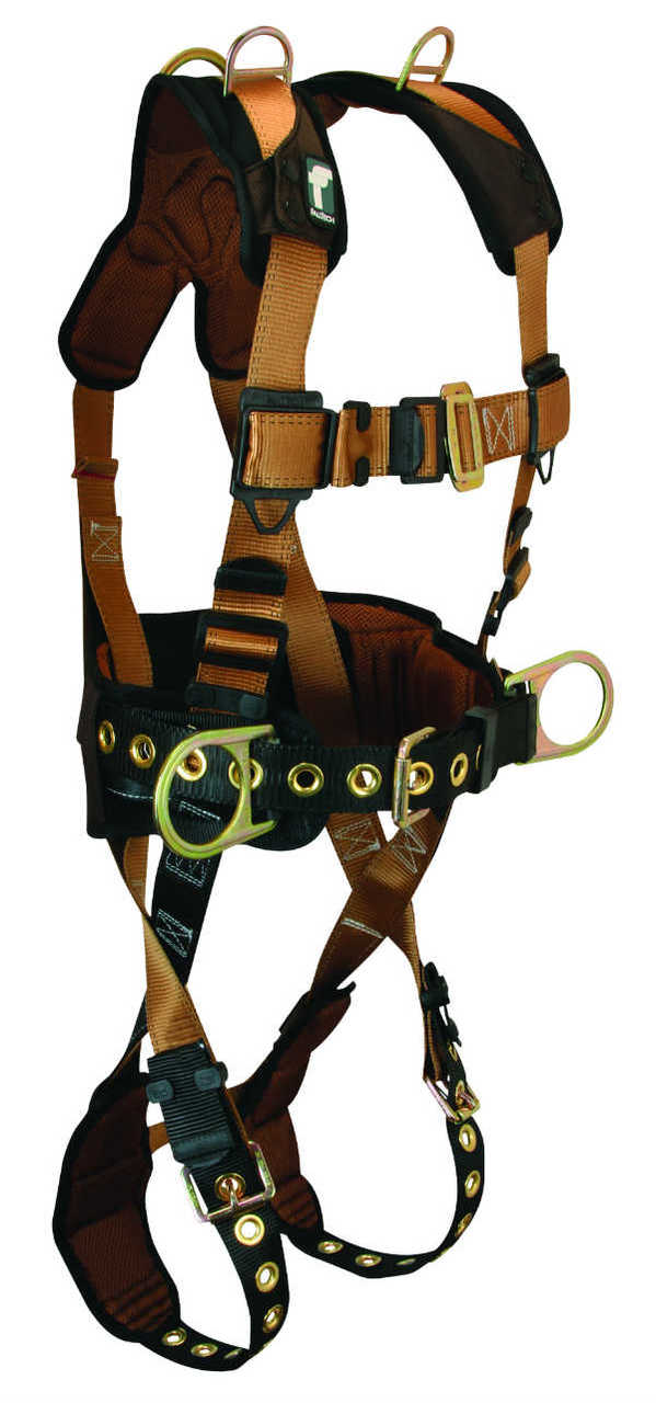 FallTech 7081SMRD Retrieval Harness, Belted, 5 D-Rings, Lumbar Supporting Waist Pad, Available in 3 Sizes.