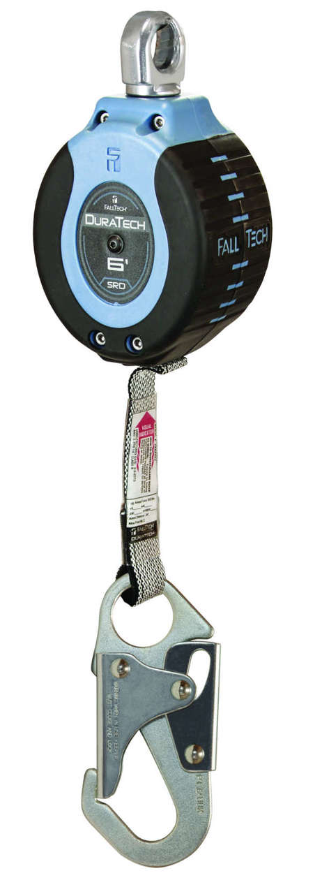 FallTech 82706SA1 6' Dura Tech Single Leg Web SRD, Inertial Brake, Swivel Eye w/ Steel Snap Hook